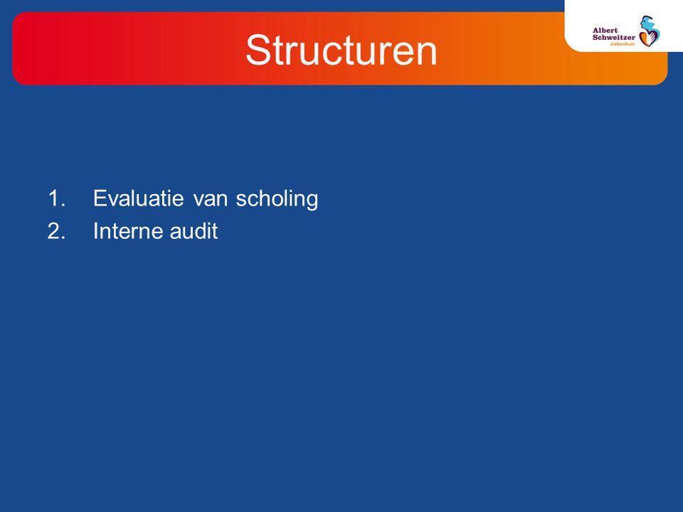 Structuren Evaluatie van scholing Interne audit