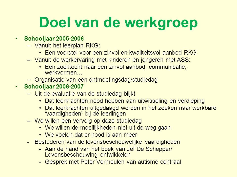 Doel van de werkgroep Schooljaar 2005-2006 Vanuit het leerplan RKG: