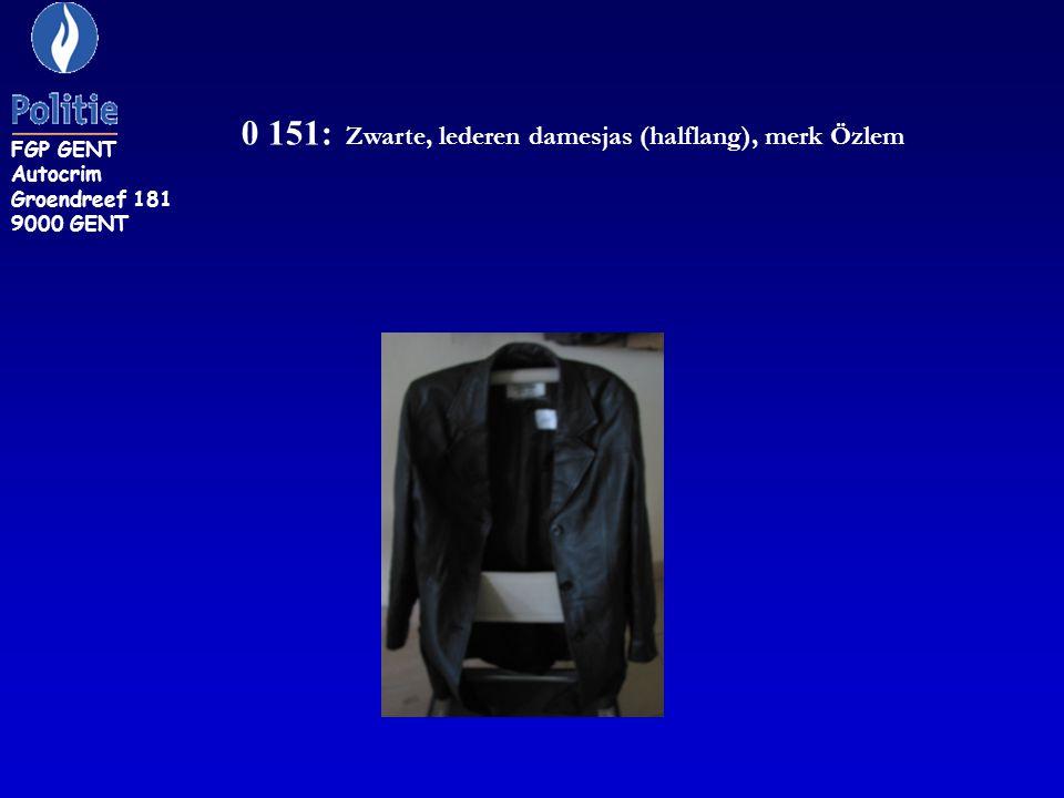 0 151: Zwarte, lederen damesjas (halflang), merk Özlem