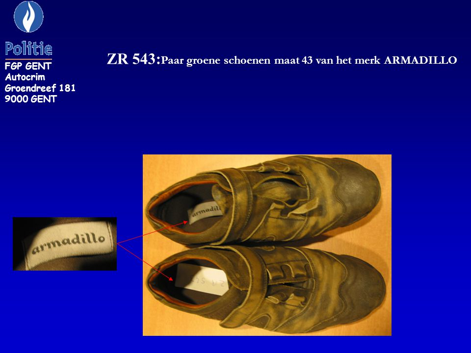 ZR 543:Paar groene schoenen maat 43 van het merk ARMADILLO