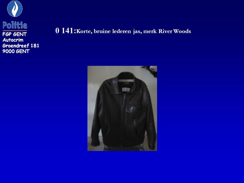 0 141:Korte, bruine lederen jas, merk River Woods