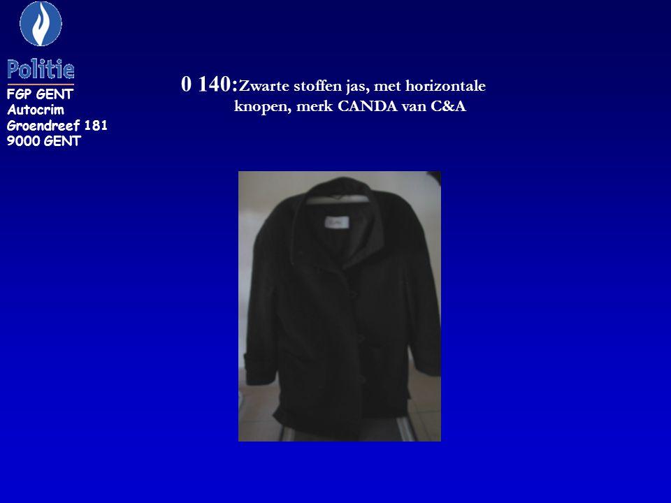 0 140:Zwarte stoffen jas, met horizontale knopen, merk CANDA van C&A