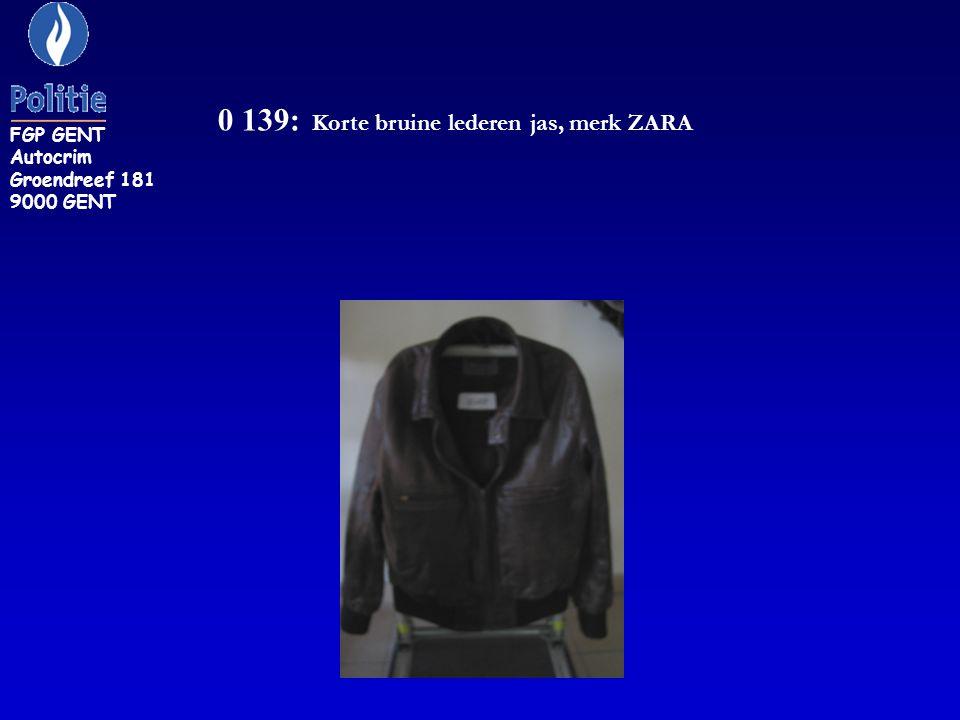 0 139: Korte bruine lederen jas, merk ZARA