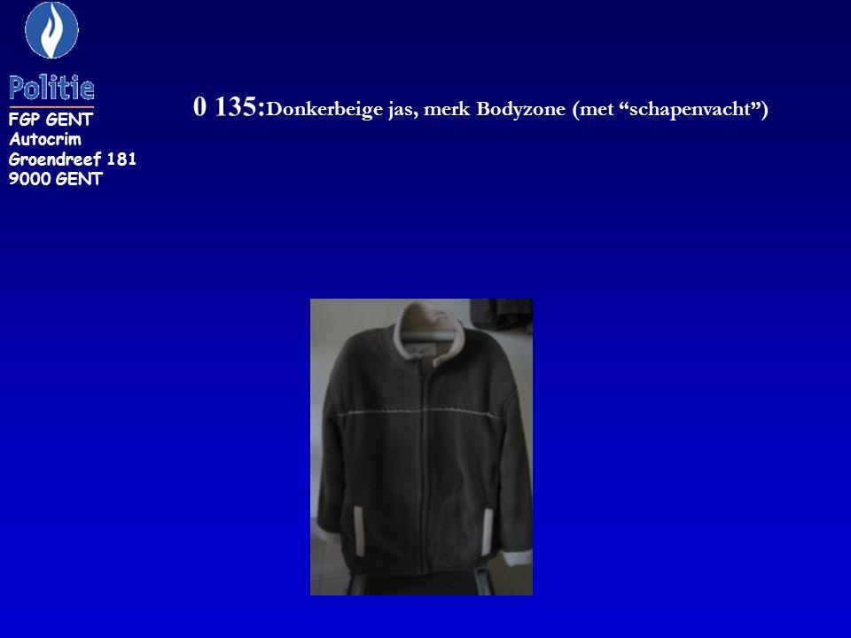 0 135:Donkerbeige jas, merk Bodyzone (met schapenvacht )