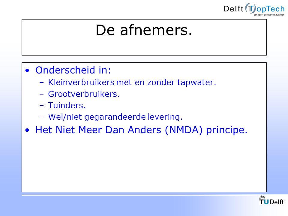 De afnemers. Onderscheid in: Het Niet Meer Dan Anders (NMDA) principe.