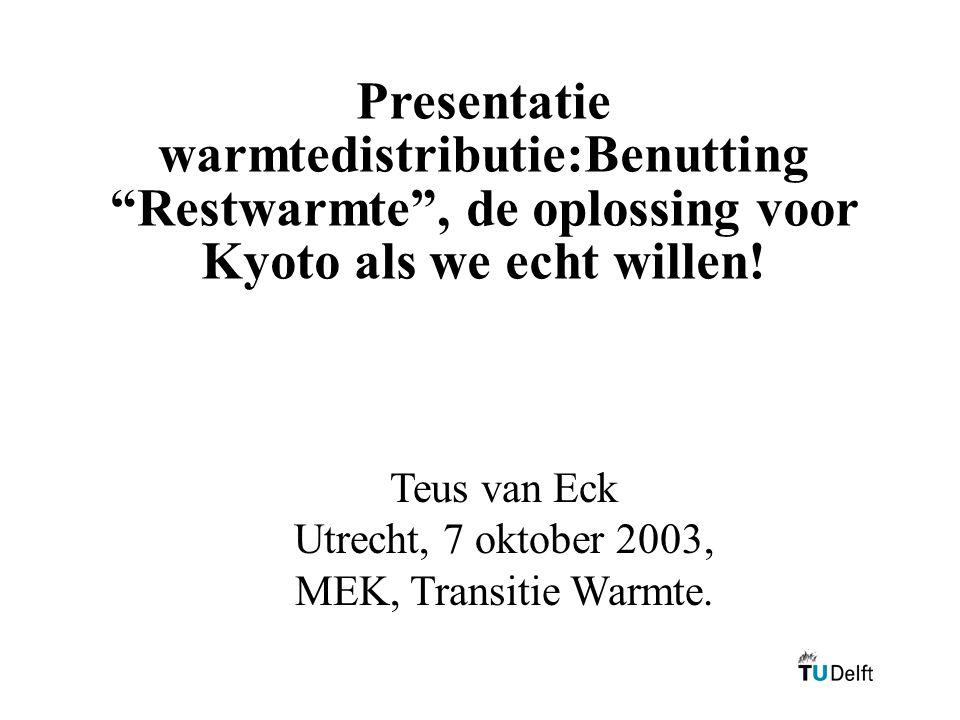 Presentatie warmtedistributie:Benutting Restwarmte , de oplossing voor Kyoto als we echt willen!