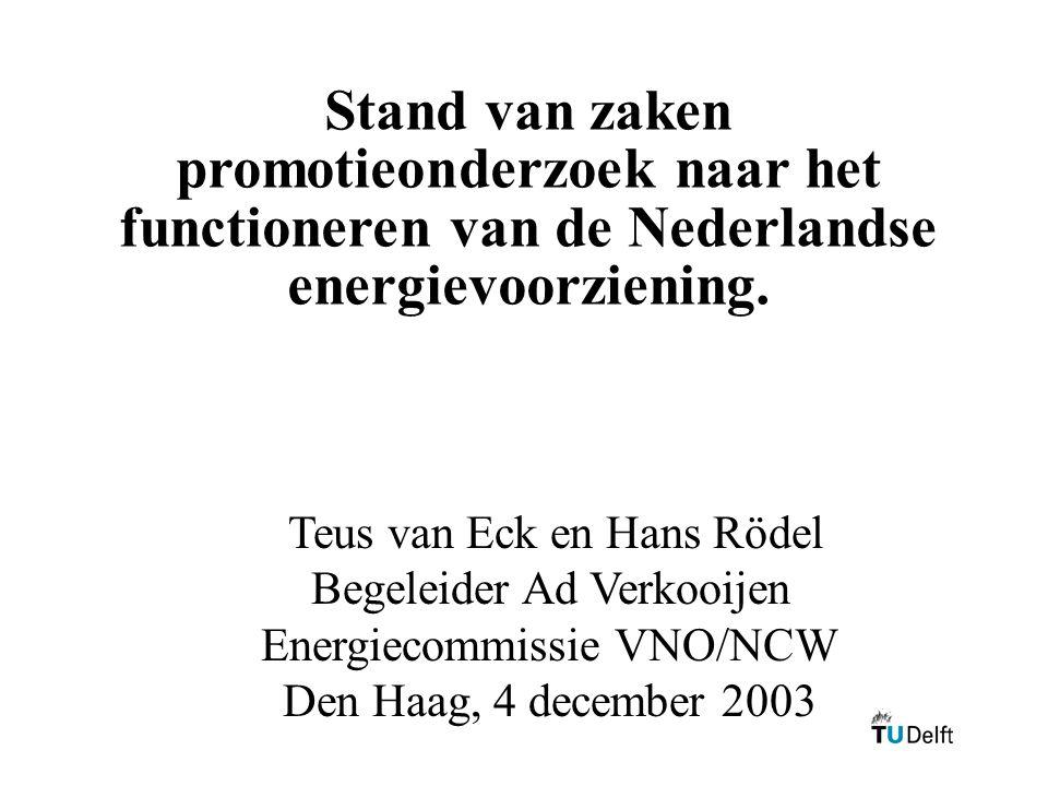 Stand van zaken promotieonderzoek naar het functioneren van de Nederlandse energievoorziening.