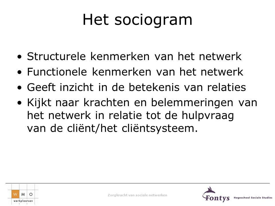 Het sociogram Structurele kenmerken van het netwerk