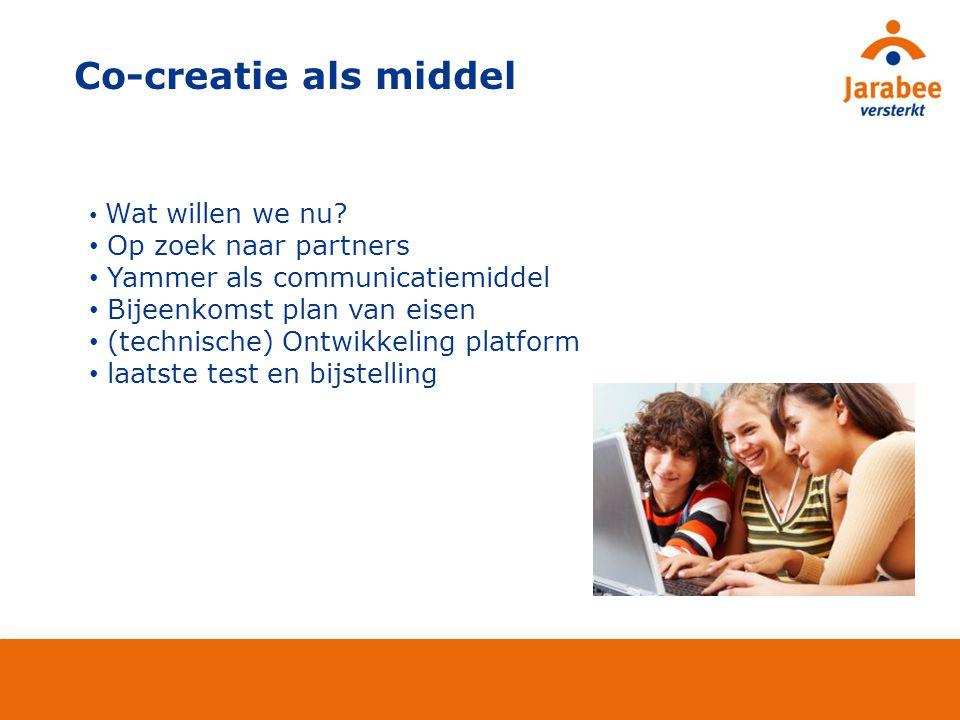 Co-creatie als middel Op zoek naar partners