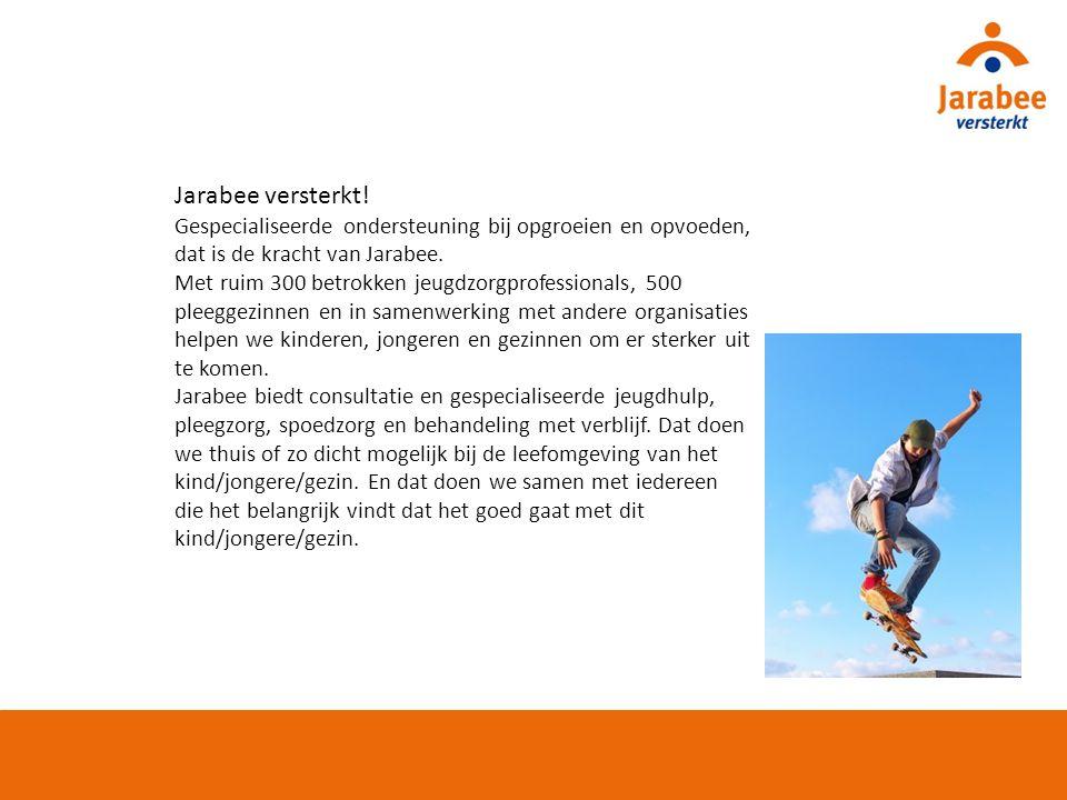Jarabee versterkt! Gespecialiseerde ondersteuning bij opgroeien en opvoeden, dat is de kracht van Jarabee.