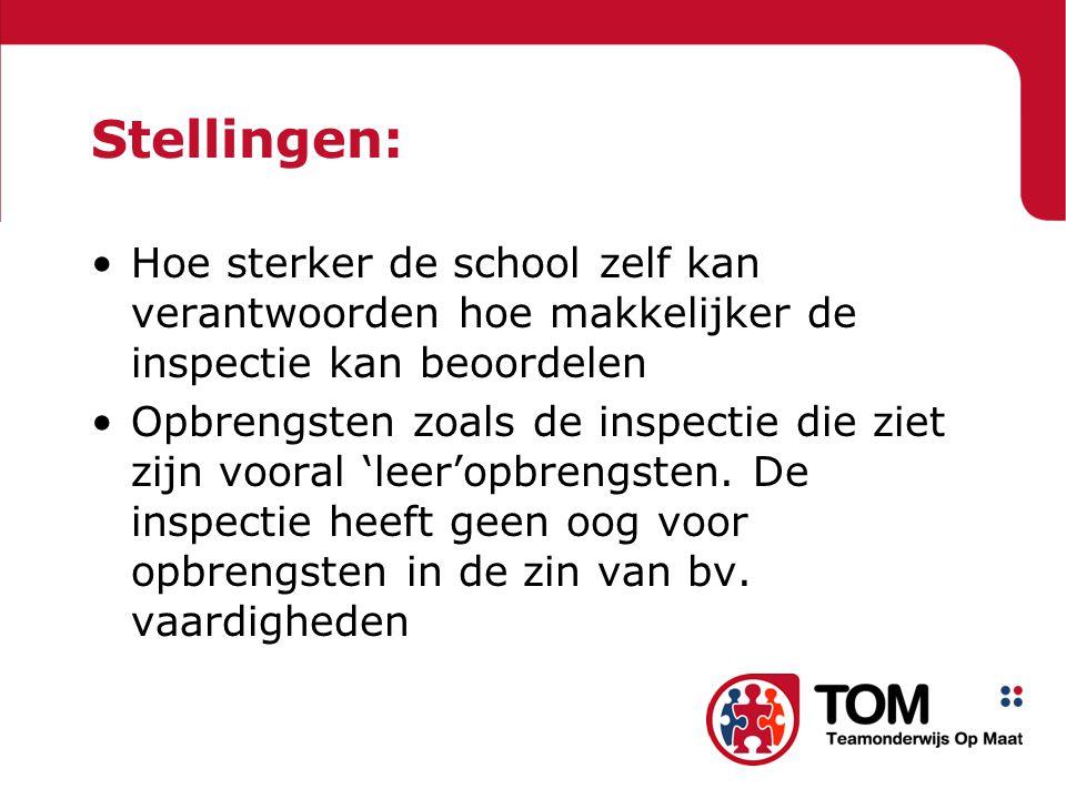 Stellingen: Hoe sterker de school zelf kan verantwoorden hoe makkelijker de inspectie kan beoordelen.