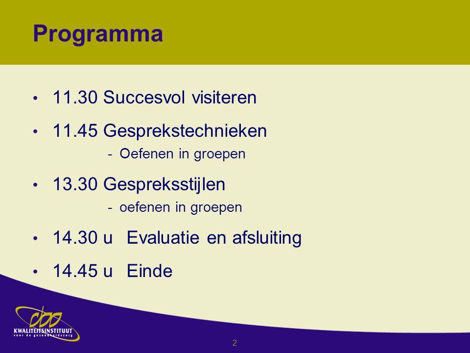Programma 11.30 Succesvol visiteren 11.45 Gesprekstechnieken