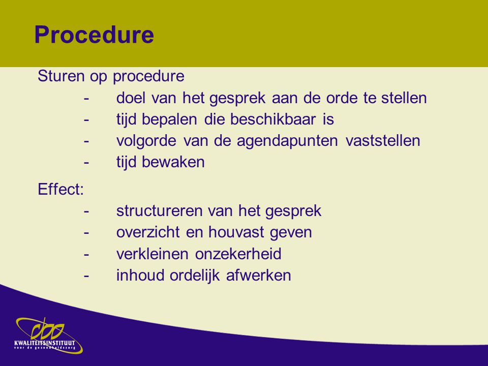 Procedure Sturen op procedure