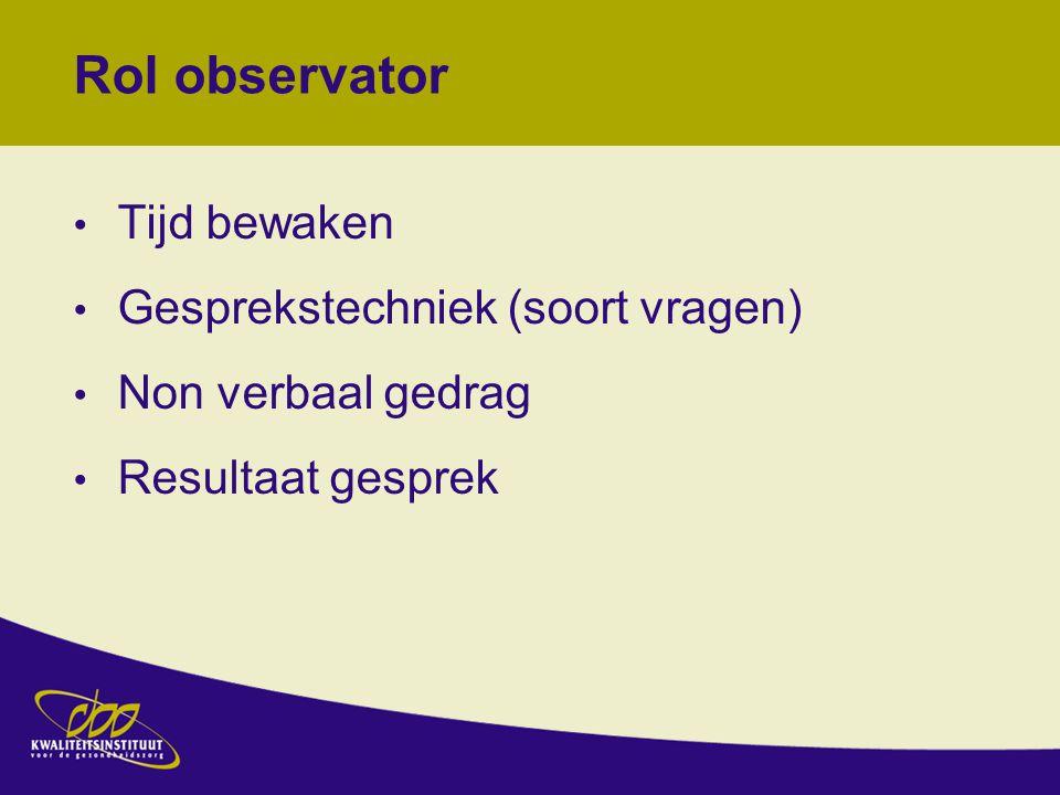 Rol observator Tijd bewaken Gesprekstechniek (soort vragen)