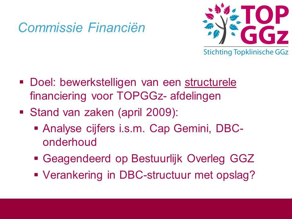 Commissie Financiën Doel: bewerkstelligen van een structurele financiering voor TOPGGz- afdelingen.