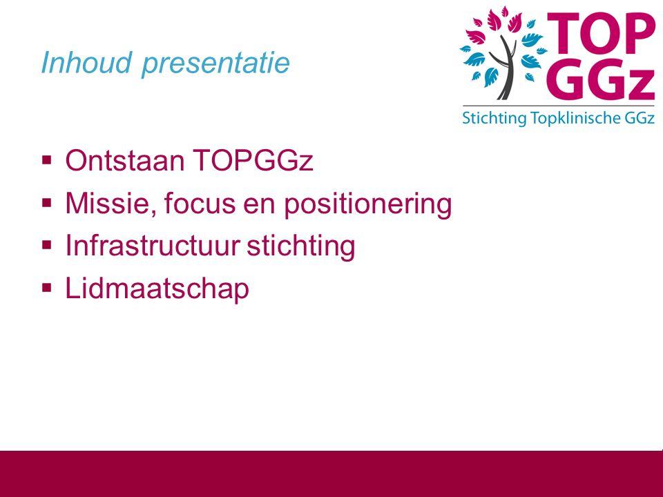 Inhoud presentatie Ontstaan TOPGGz Missie, focus en positionering