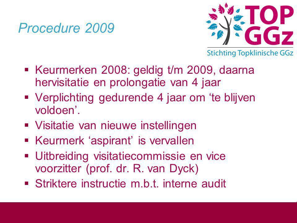 Procedure 2009 Keurmerken 2008: geldig t/m 2009, daarna hervisitatie en prolongatie van 4 jaar.