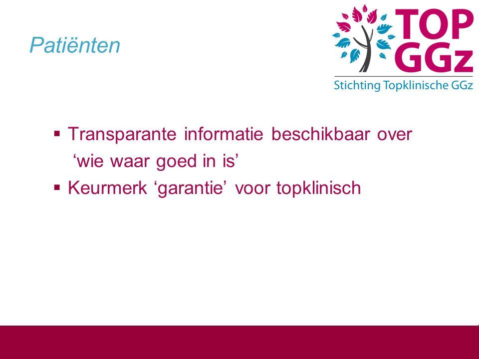 Patiënten Transparante informatie beschikbaar over