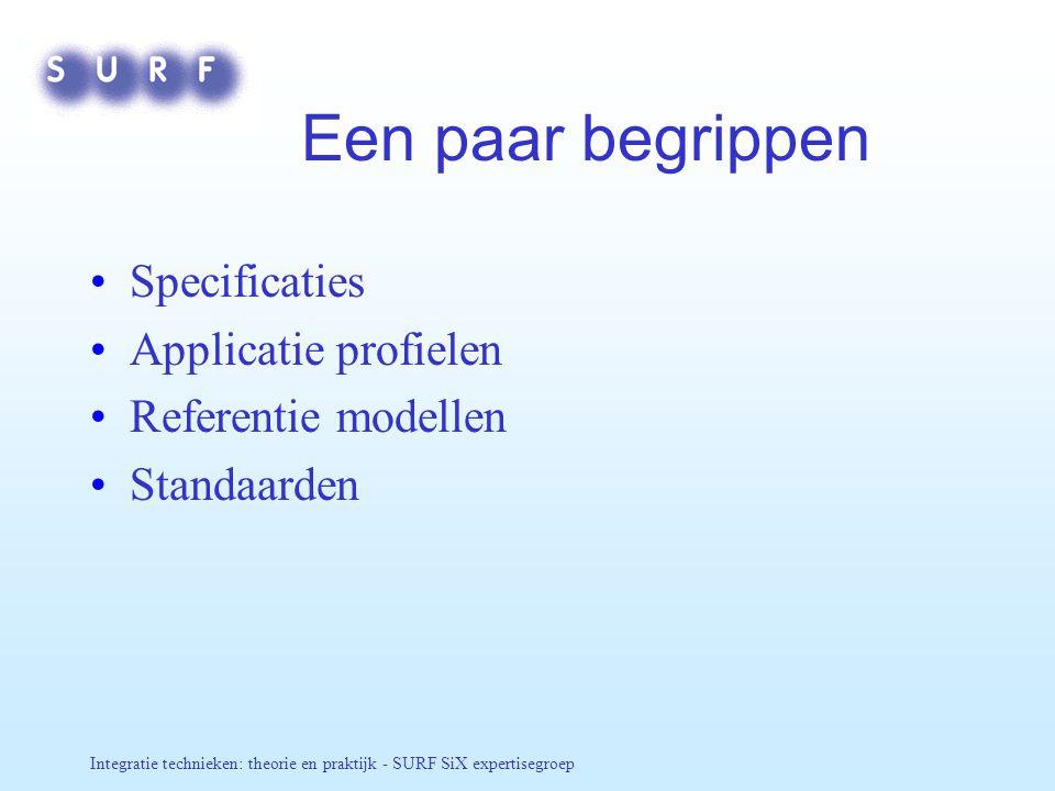 Een paar begrippen Specificaties Applicatie profielen