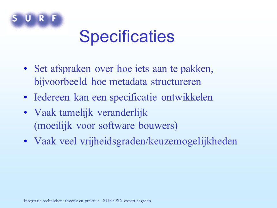 Specificaties Set afspraken over hoe iets aan te pakken, bijvoorbeeld hoe metadata structureren. Iedereen kan een specificatie ontwikkelen.