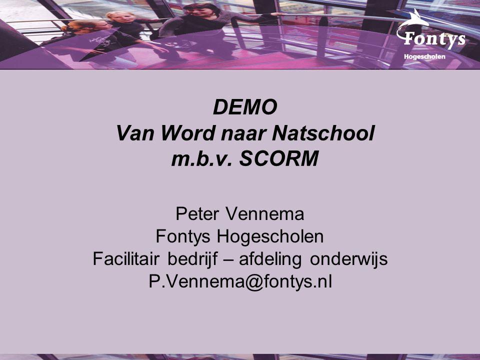 DEMO Van Word naar Natschool m.b.v. SCORM