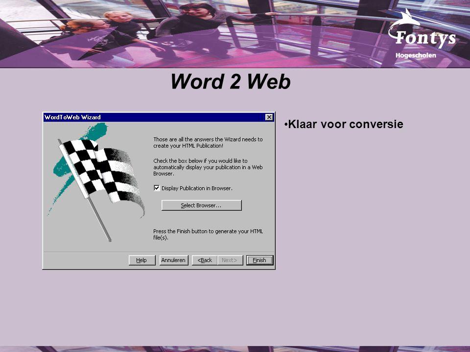 Word 2 Web Klaar voor conversie