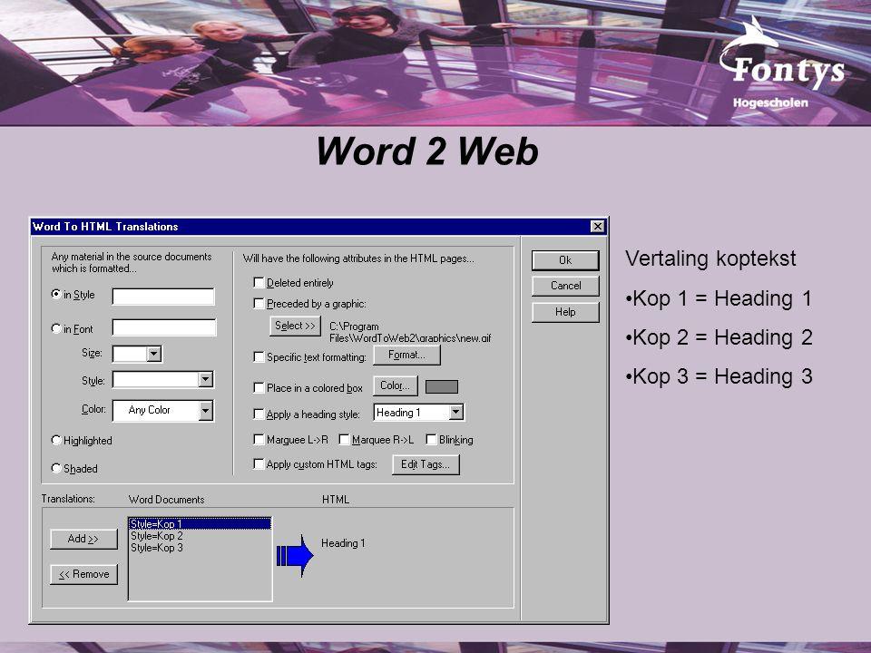 Word 2 Web Vertaling koptekst Kop 1 = Heading 1 Kop 2 = Heading 2