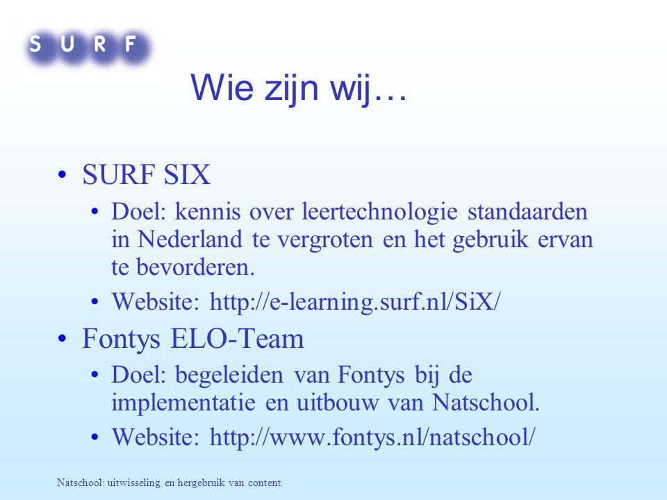 Wie zijn wij… SURF SIX Fontys ELO-Team
