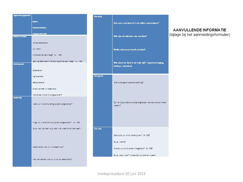 intakeprocedure 10 juni 2013 AANVULLENDE INFORMATIE