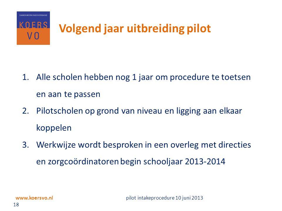 Volgend jaar uitbreiding pilot