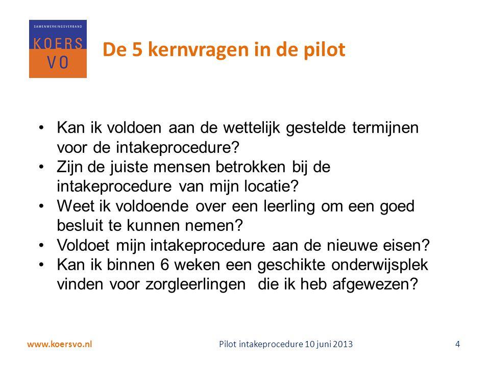 De 5 kernvragen in de pilot