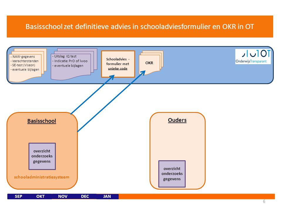 Schooladvies -formulier met unieke code schooladministratiesysteem
