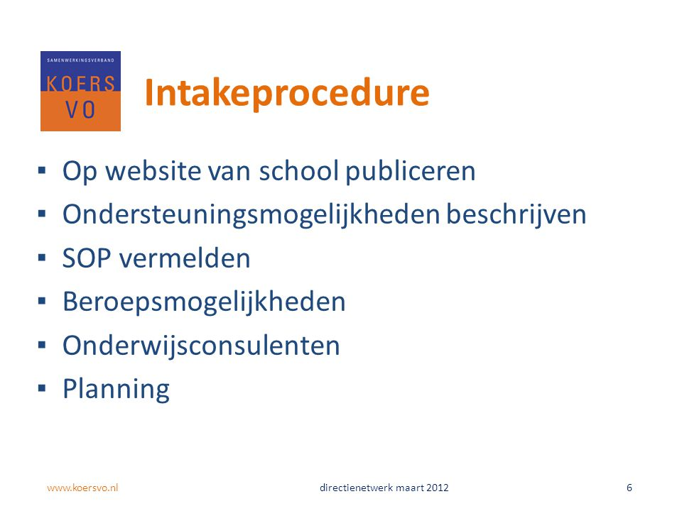 Intakeprocedure Op website van school publiceren