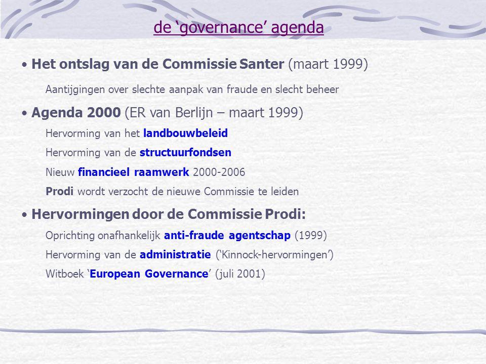 de 'governance' agenda