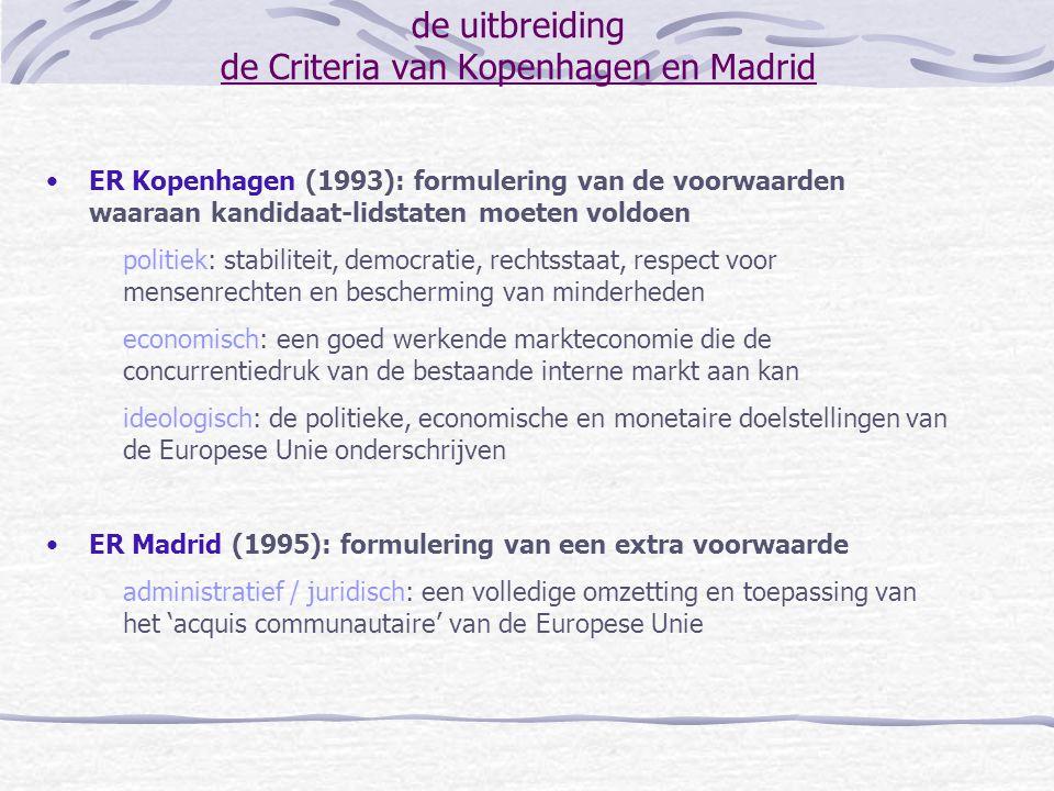 de uitbreiding de Criteria van Kopenhagen en Madrid