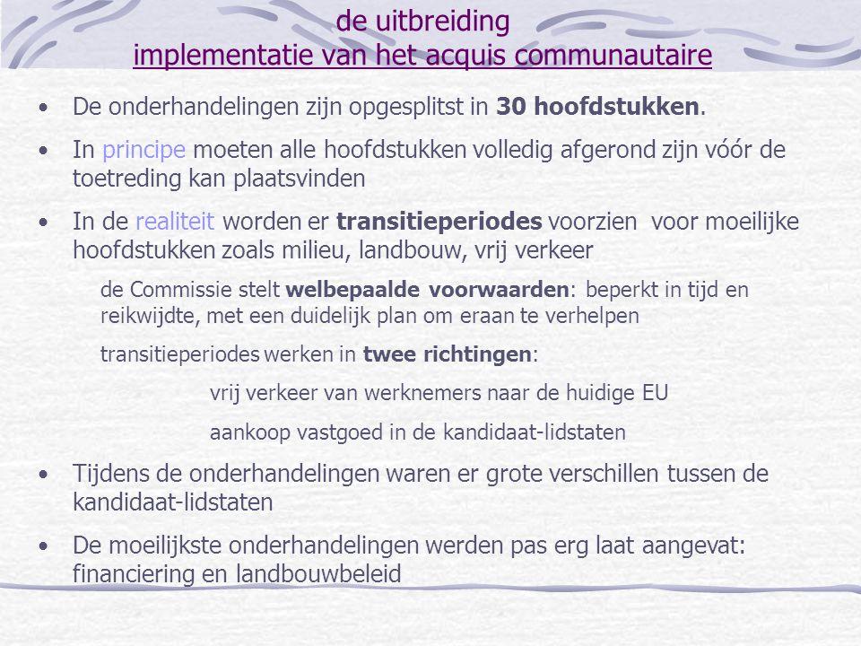 de uitbreiding implementatie van het acquis communautaire