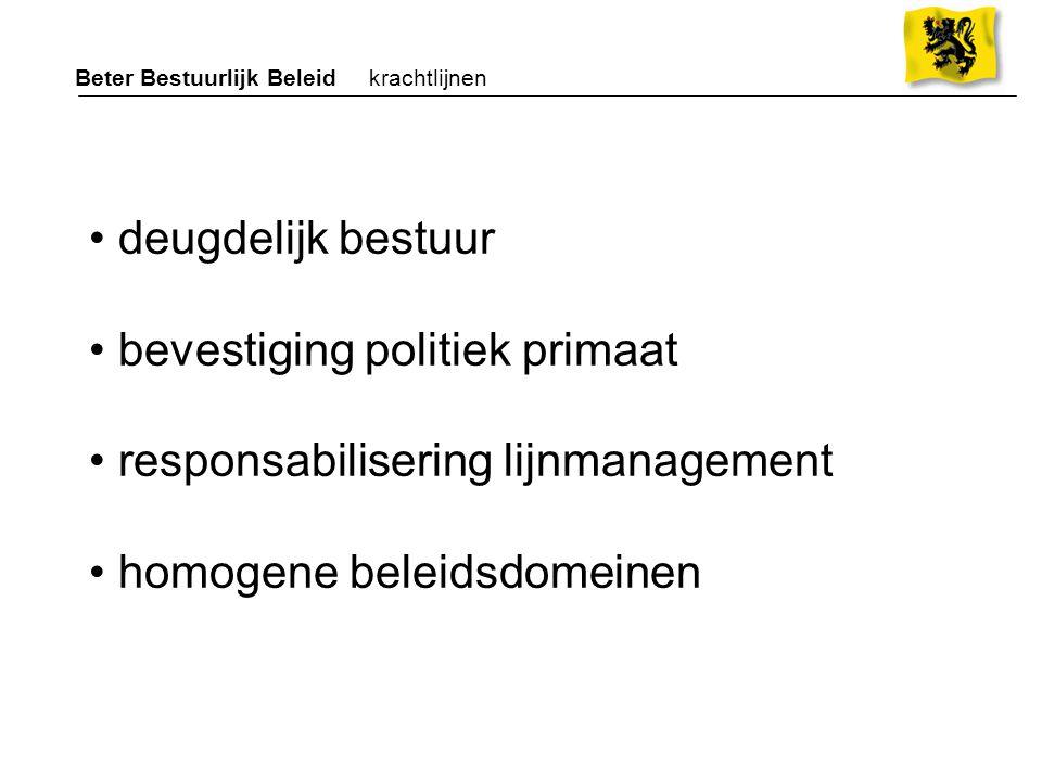 De 13 homogene beleidsdomeinen / ministeries