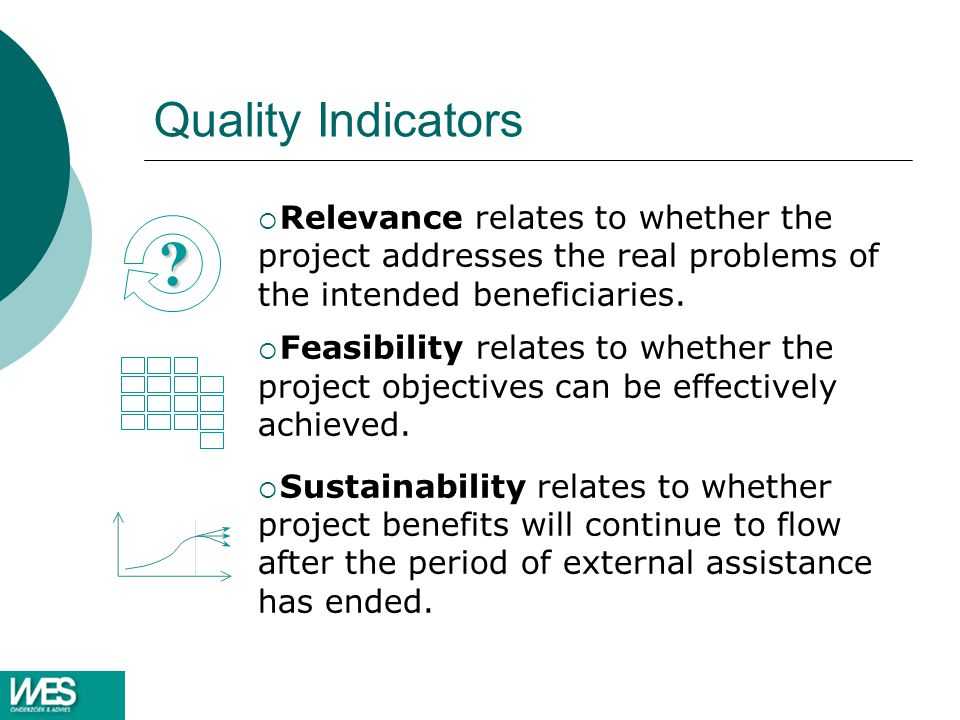 Quality Indicators Relevance relates to whether the project addresses the real problems of the intended beneficiaries.