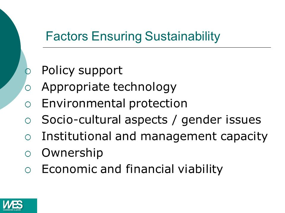 Factors Ensuring Sustainability