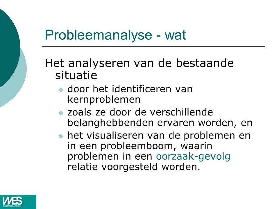 Probleemanalyse - wat Het analyseren van de bestaande situatie
