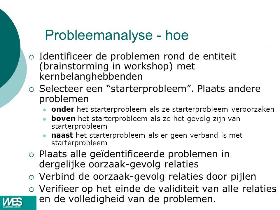 Probleemanalyse - hoe Identificeer de problemen rond de entiteit (brainstorming in workshop) met kernbelanghebbenden.
