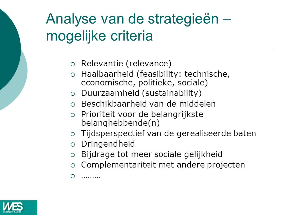Analyse van de strategieën – mogelijke criteria