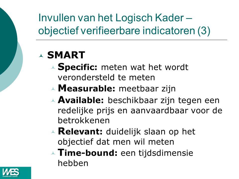 Invullen van het Logisch Kader – objectief verifieerbare indicatoren (3)