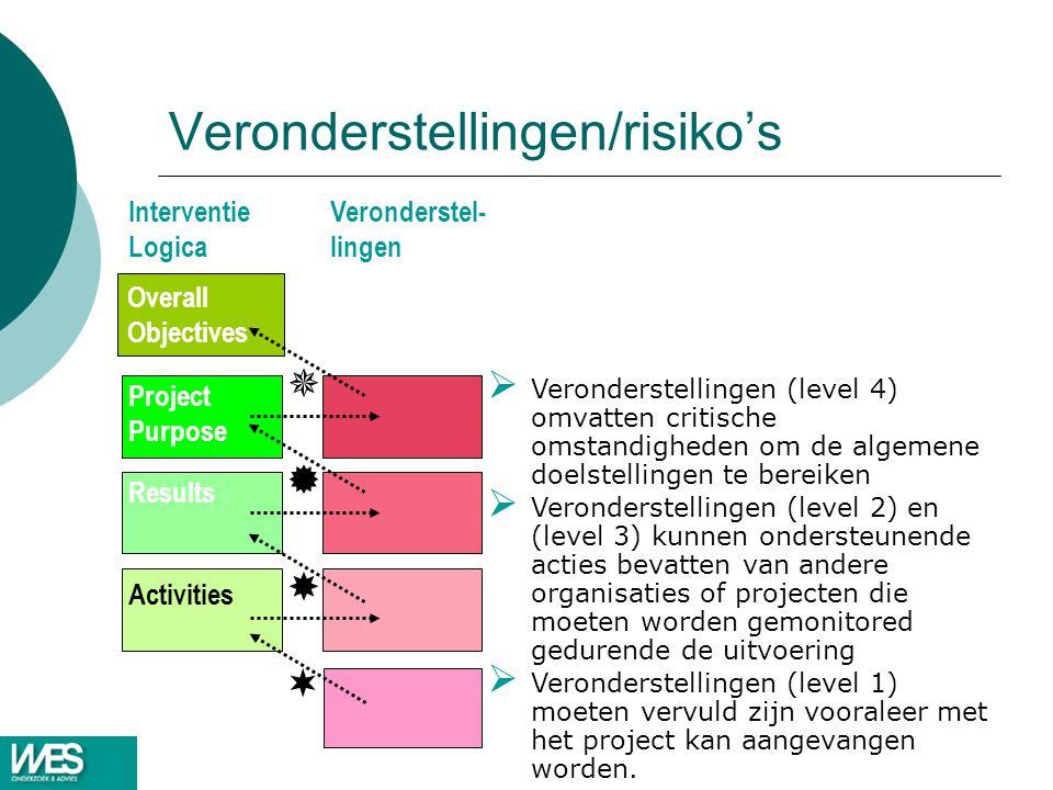 Veronderstellingen/risiko's