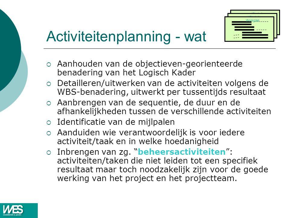 Activiteitenplanning - wat
