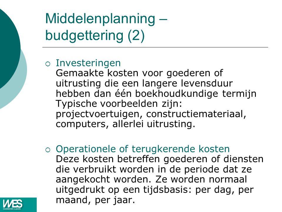 Middelenplanning – budgettering (2)