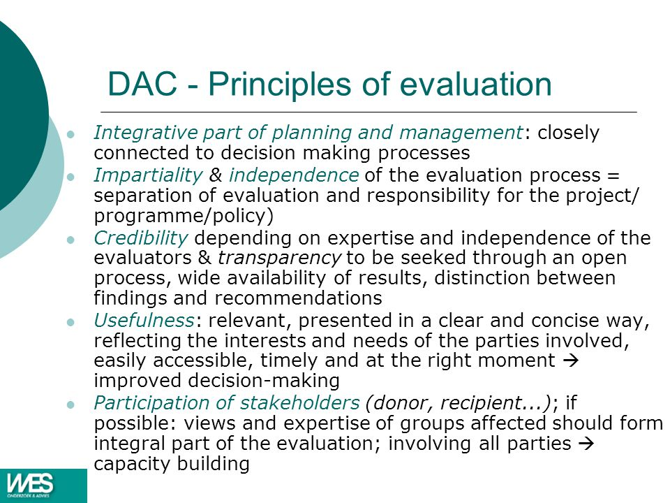 DAC - Principles of evaluation
