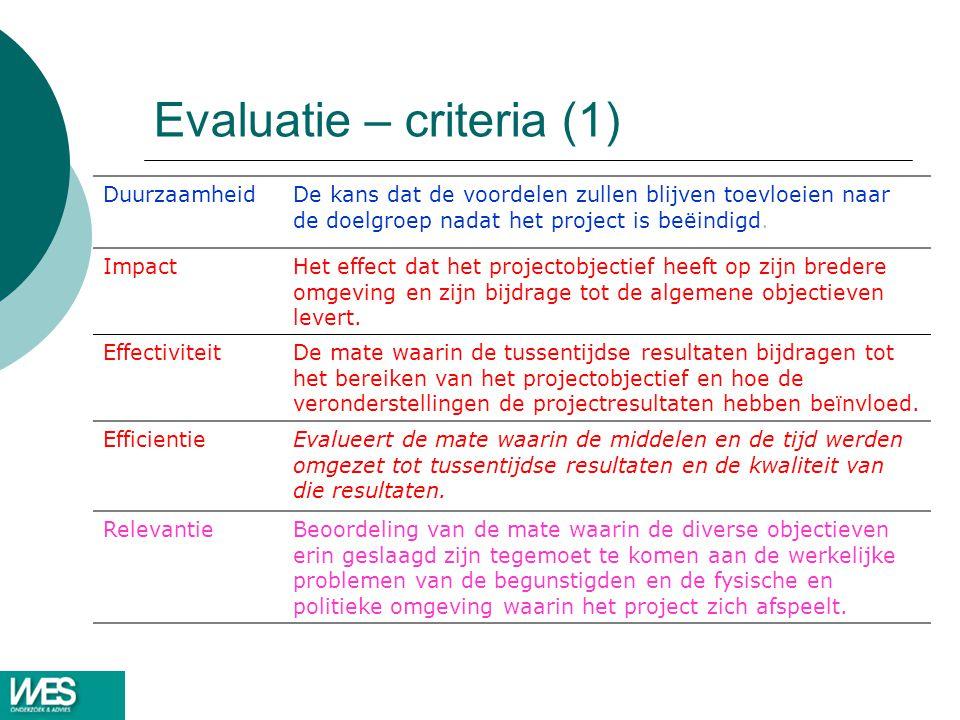 Evaluatie – criteria (1)