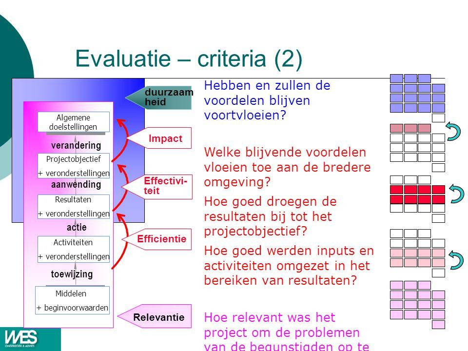 Evaluatie – criteria (2)