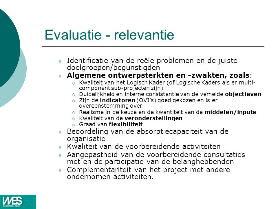 Evaluatie - relevantie